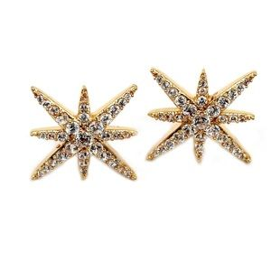 Fashion gold polaris small crystal earrings
